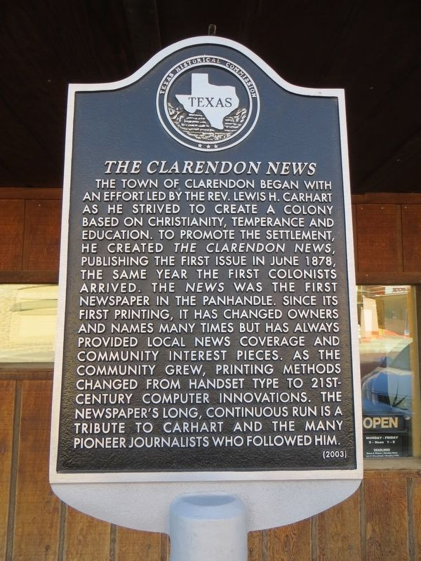 The Clarendon News Marker image. Click for full size.