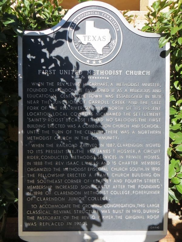 First United Methodist Church of Clarendon Marker image. Click for full size.