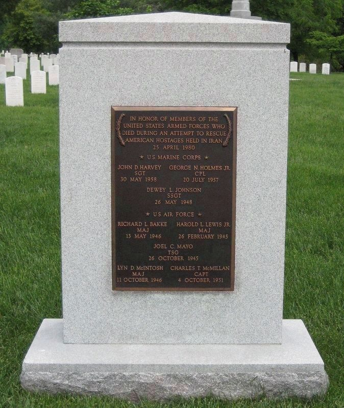 Operation Eagle Claw Memorial Cenotaph in Arlington National Cemetery. image. Click for more information.