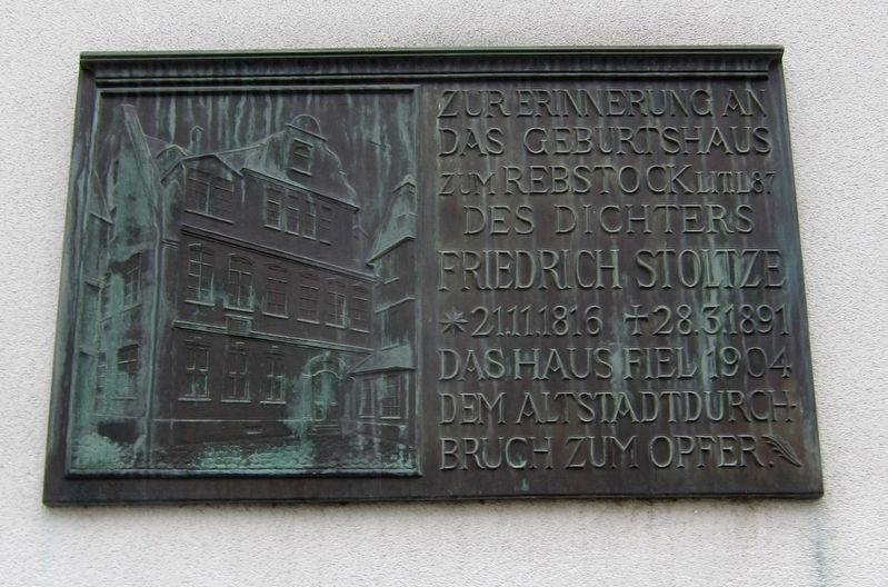 Friedrich Stoltze Geburtshaus / Birthplace Marker image. Click for full size.