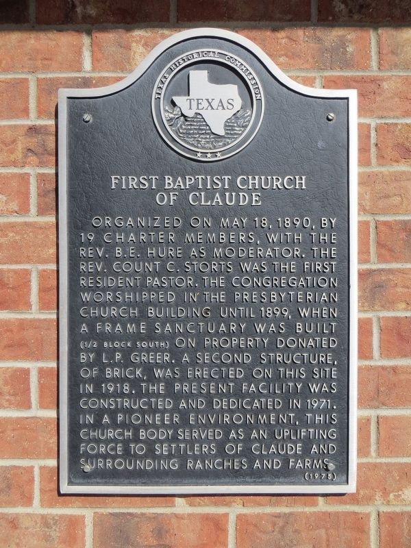 First Baptist Church of Claude Marker image. Click for full size.