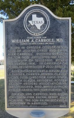 Park Named for William A. Carroll, M.D. Marker image. Click for full size.