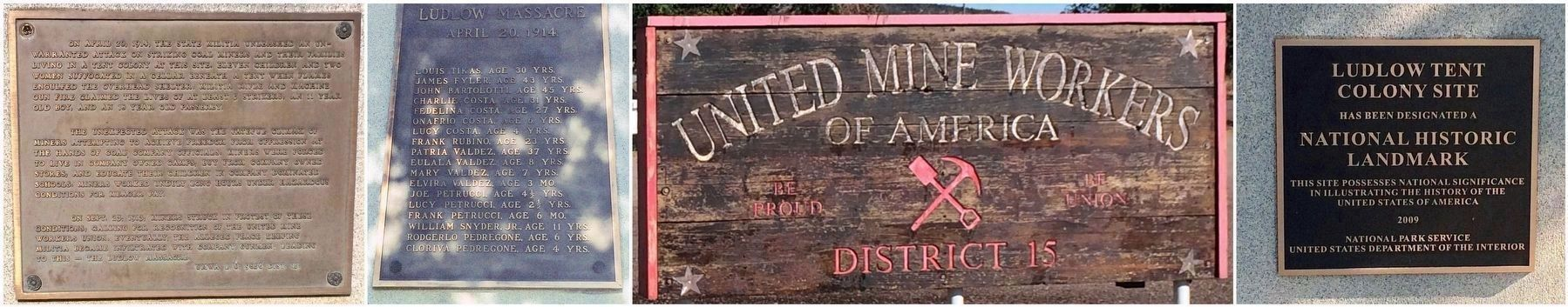 Plaques on monument and UMWA sign. image. Click for full size.