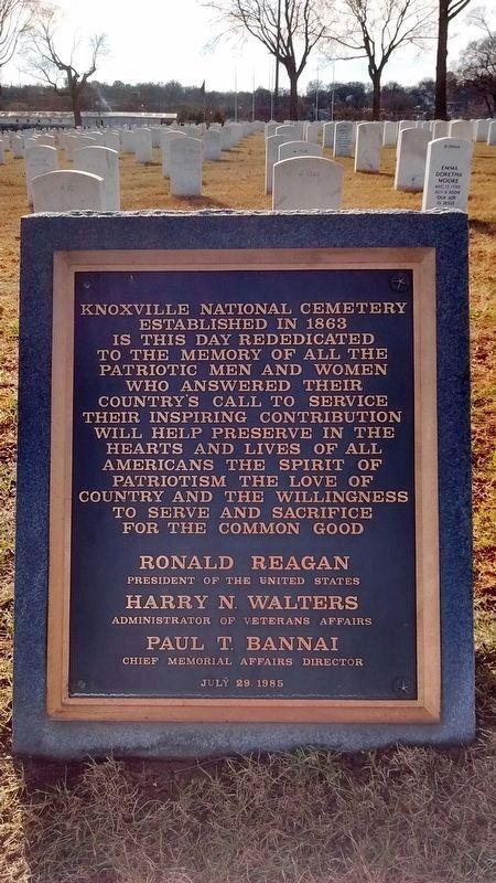 Knoxville National Cemetery Rededication Plaque image. Click for full size.