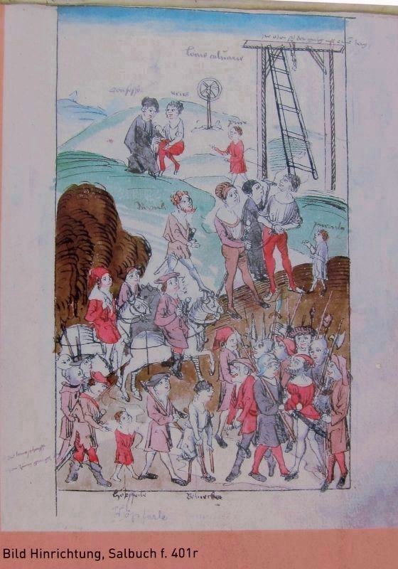 Inset Illustration on Marker Showing Execution on the Galgenberg image. Click for full size.