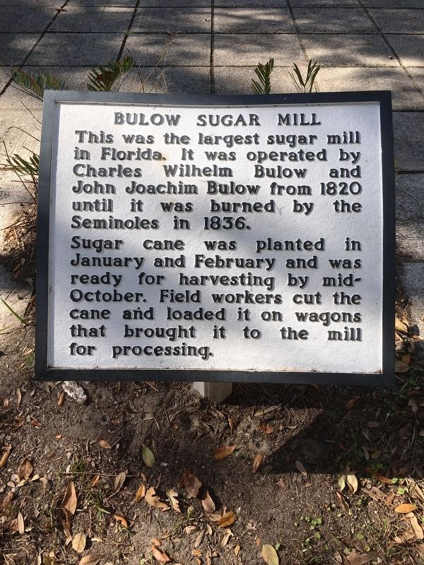 Bulow Sugar Mill Marker image. Click for full size.