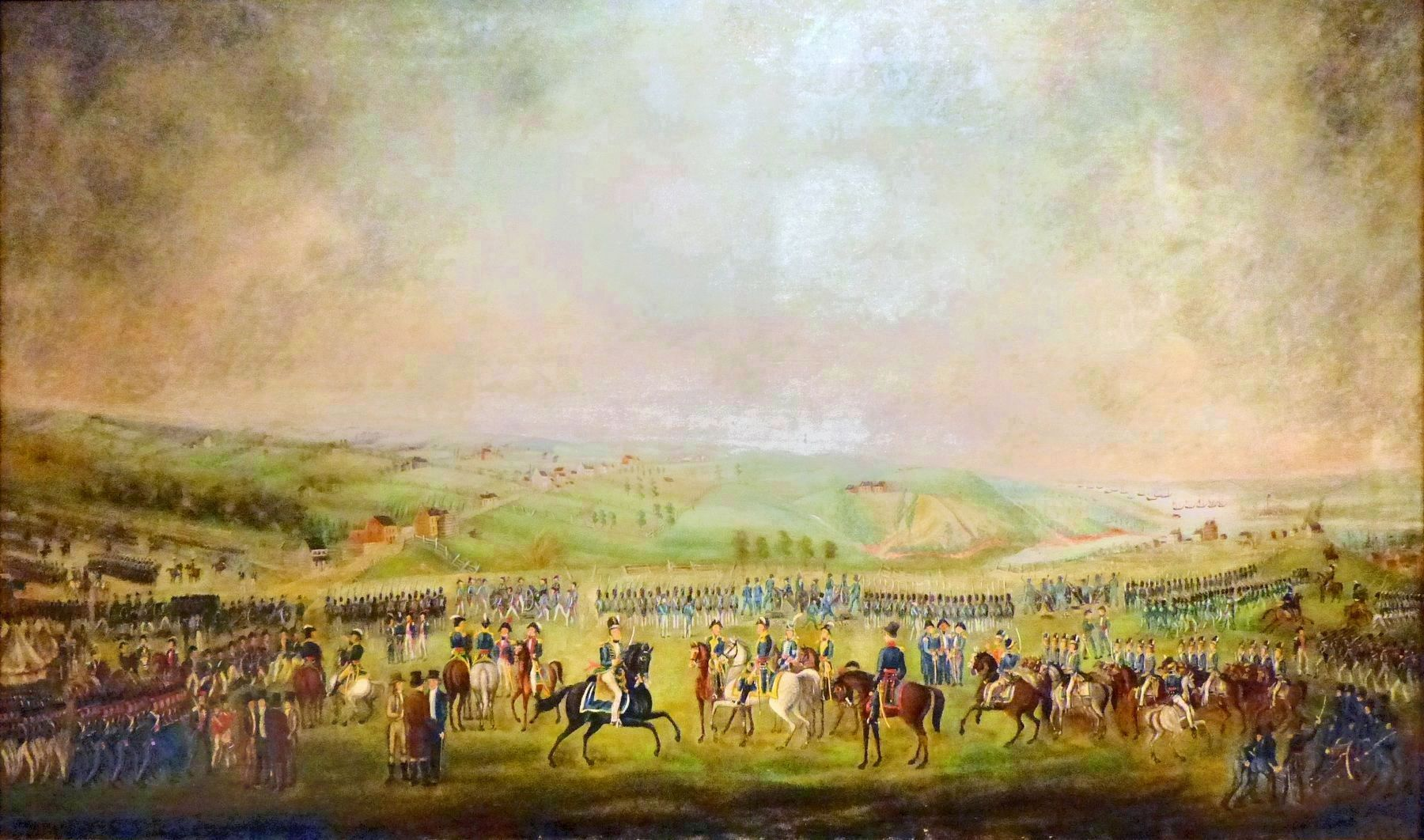 Assembling of the Troops or the Defense of Baltimore<br> By Thomas Ruckle, 1814 image. Click for full size.