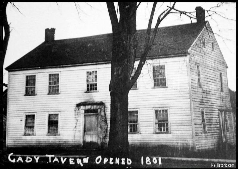 In 1801 Zadoc Cady built a log tavern here. image. Click for full size.