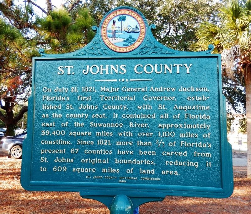 St. Johns County Marker (<i><b>south-facing side of marker</i></b>) image. Click for full size.