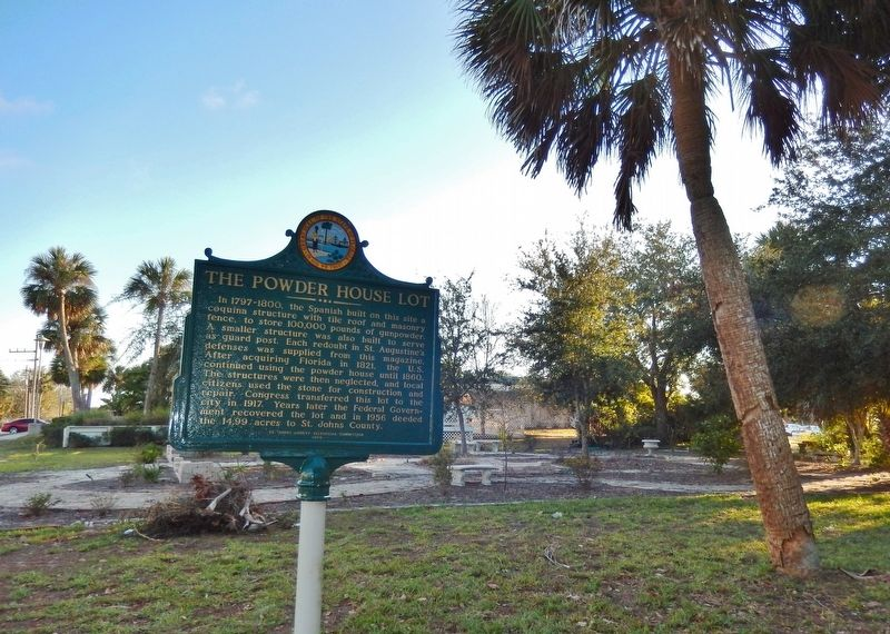 The Powder House Lot Marker (<b><i>wide view</b></i>) image. Click for full size.