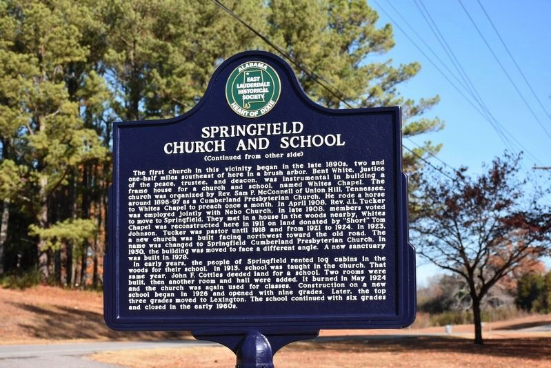 Springfield Church and School Marker image. Click for full size.