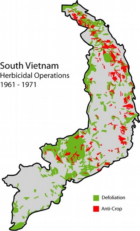 Map of herbicide usage during the Vietnam war. image. Click for full size.