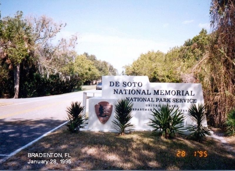 Sign at the entrance to the DeSoto National Memorial image. Click for full size.