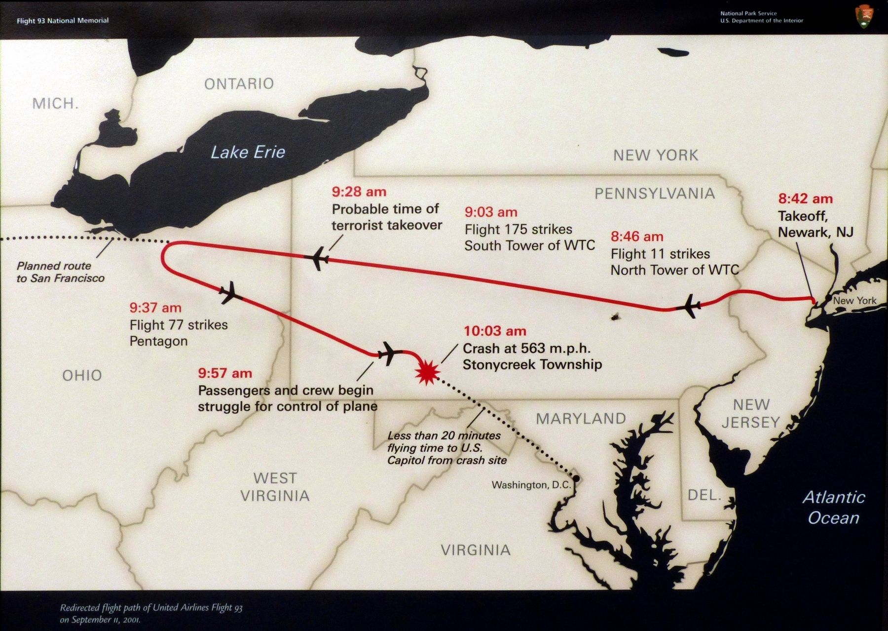 Redirected flight path of United Airlines Flight 93 on September 11, 2001 image. Click for full size.