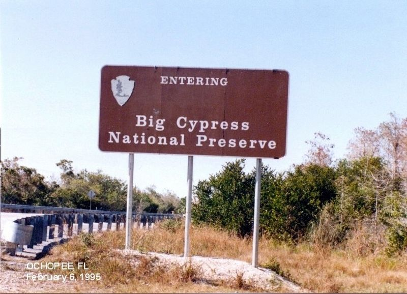 Sign at the entrance to Big Cypress National Preserve image. Click for full size.