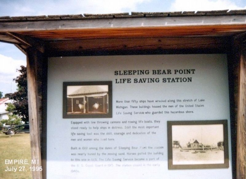 Sleeping Bear Point Life Saving Station. Marker image. Click for full size.