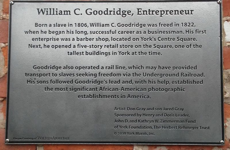 William C. Goodridge, Entrepreneur Marker image. Click for full size.