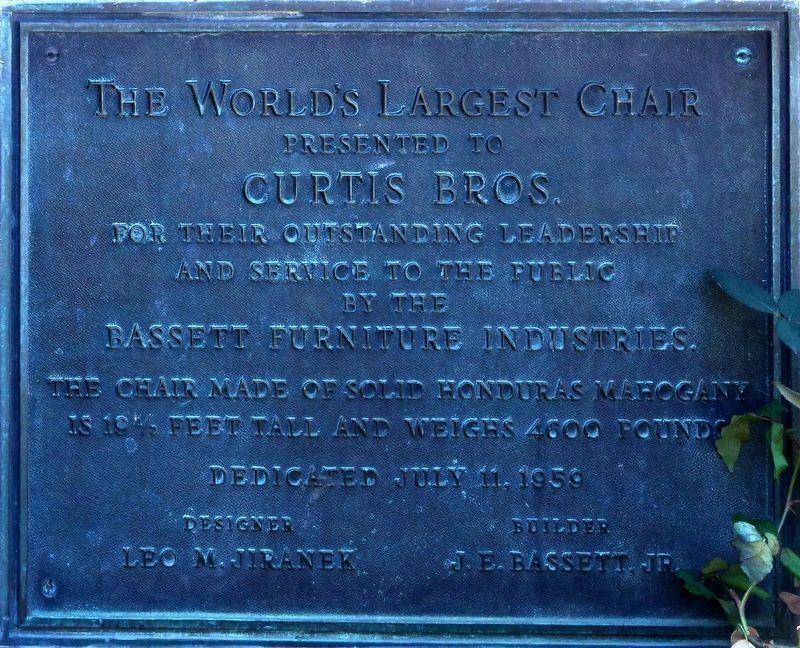 1959 Plaque<br>(Mahogany Chair) image. Click for full size.