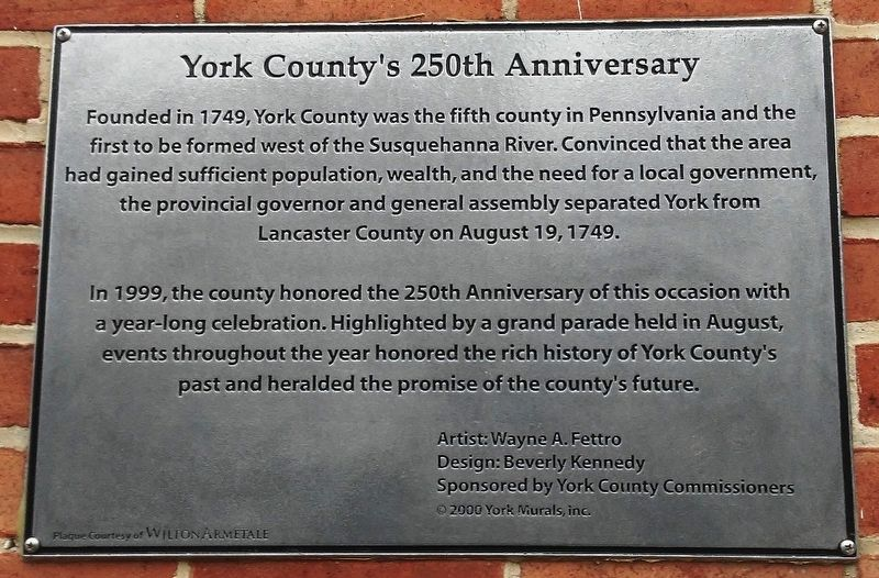 York County's 250th Anniversary Marker image. Click for full size.