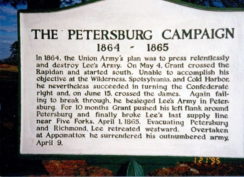 The Petersburg Campaign Marker image. Click for full size.