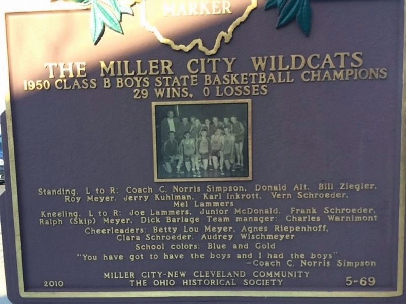 The Miller City Wildcats Marker image. Click for full size.
