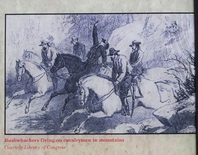 Bushwhackers firing-on cavalrymen in mountains image. Click for full size.