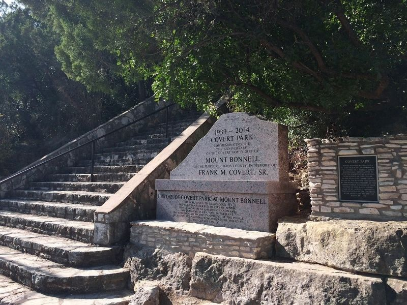 Markers at Foot of Stairs to top of Mount Bonnell image. Click for full size.