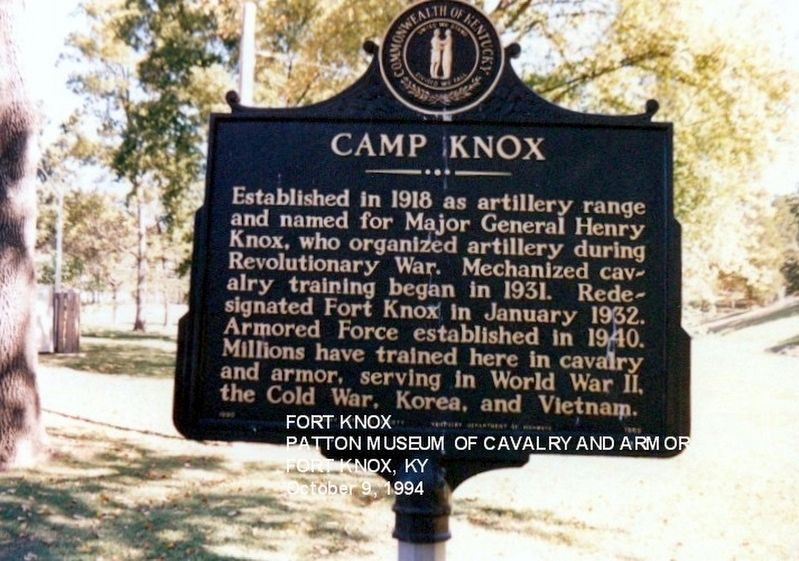 Camp Knox Marker image. Click for full size.