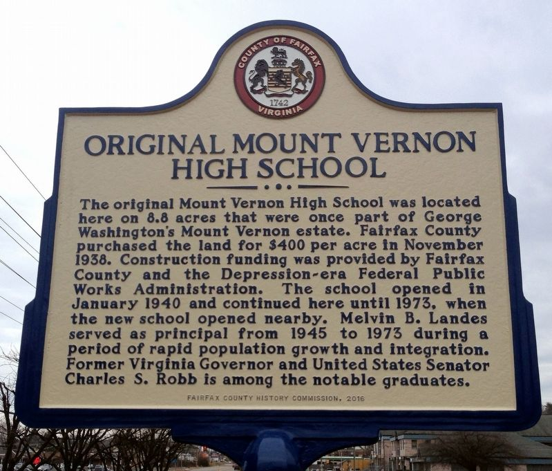 Original Mount Vernon High School Marker image. Click for full size.