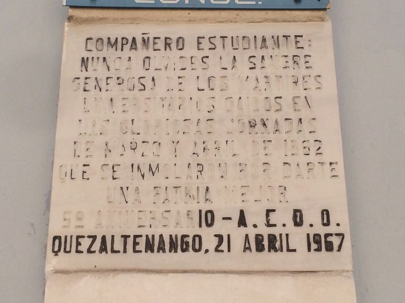 1962 Student Protests in Quetzaltenango Marker image. Click for full size.
