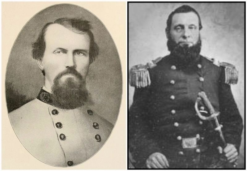 Portraits of Major Gen. Nathan Bedford Forrest (left) & (then Col.) Abel Delos Streight. image. Click for full size.