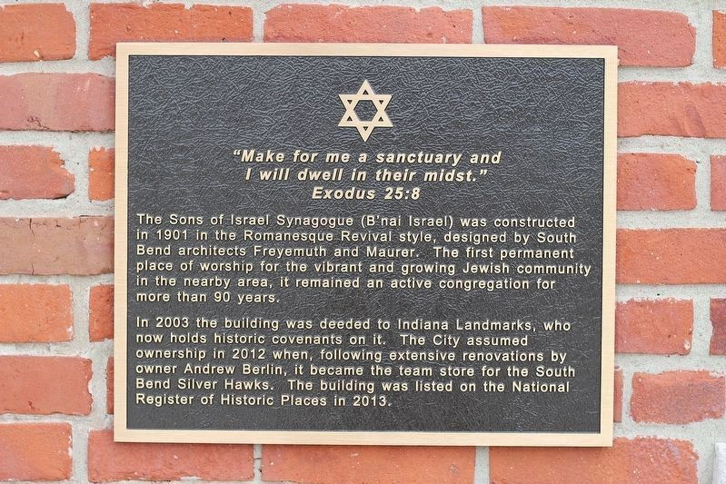 The Sons of Israel Synagogue Marker image. Click for full size.
