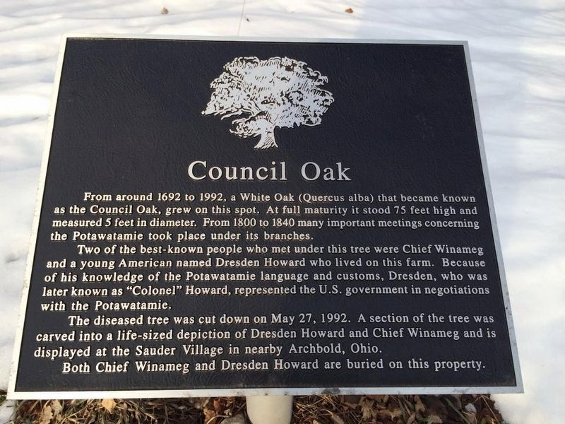 Council Oak/Col. D.W.H. Howard Marker image. Click for full size.