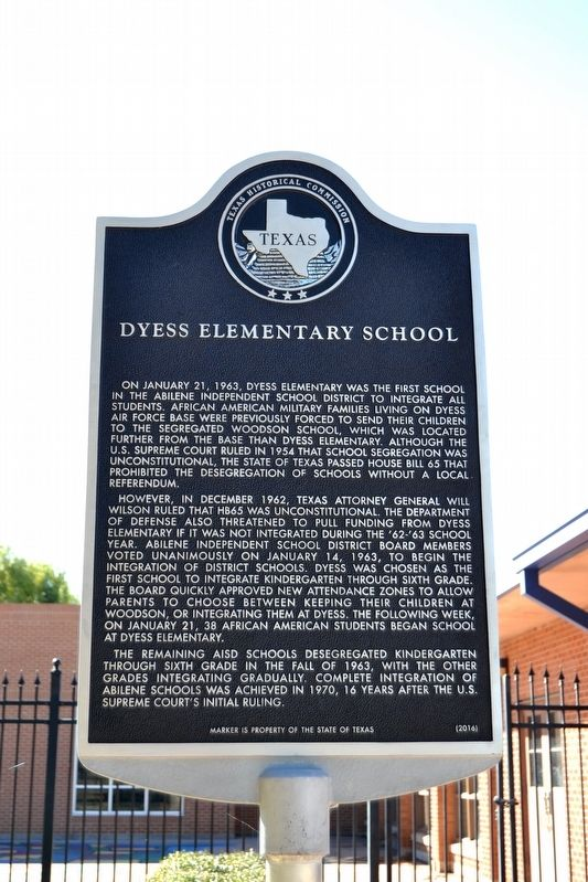 Dyess Elementary School Marker image. Click for full size.