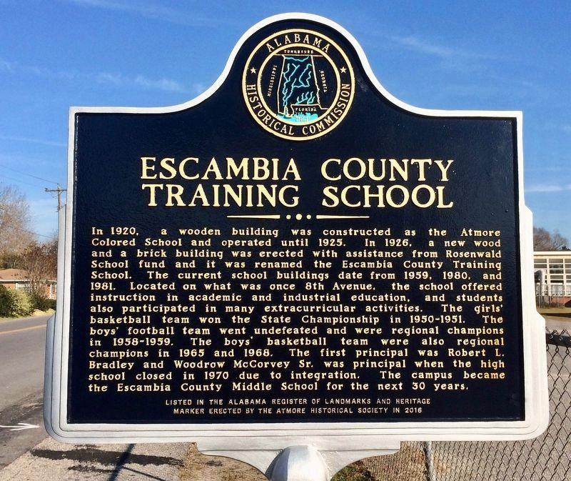 Escambia County Training School Marker image. Click for full size.