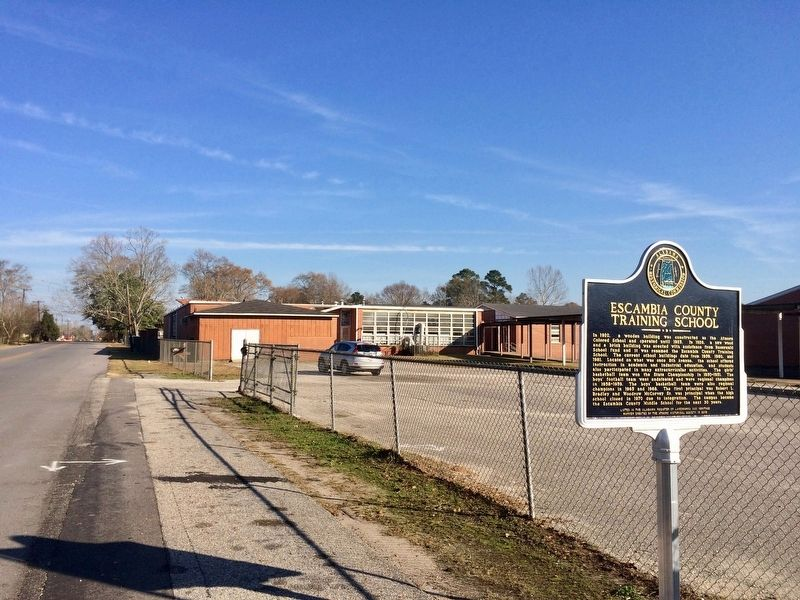 Escambia County Training School behind marker. image. Click for full size.