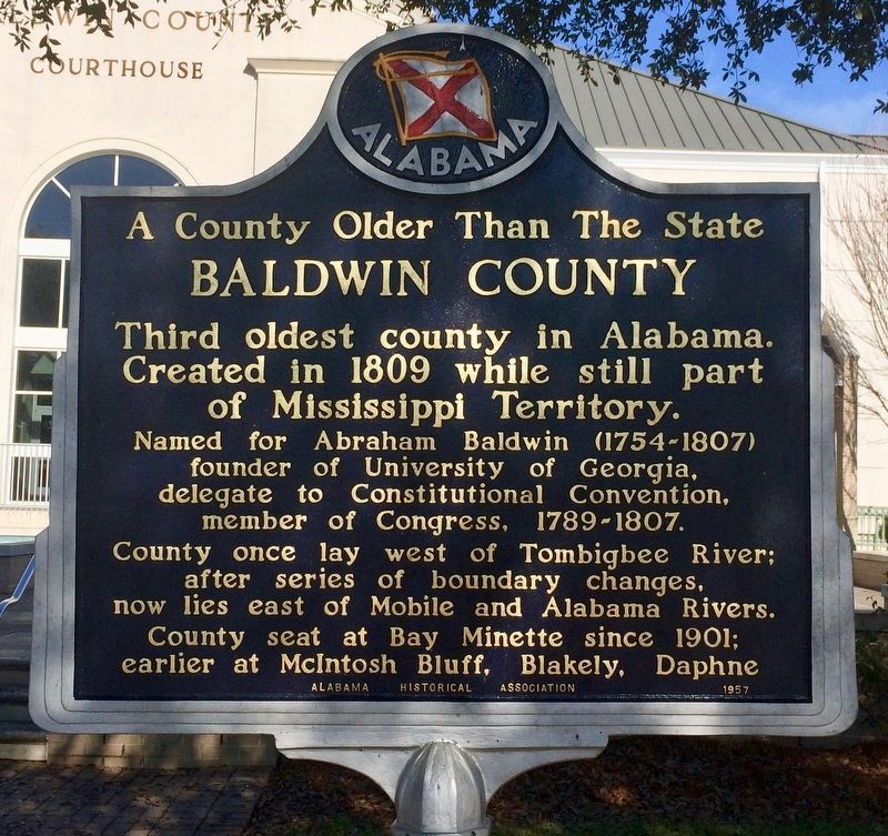 A County Older Than the State, Baldwin County Marker image. Click for full size.