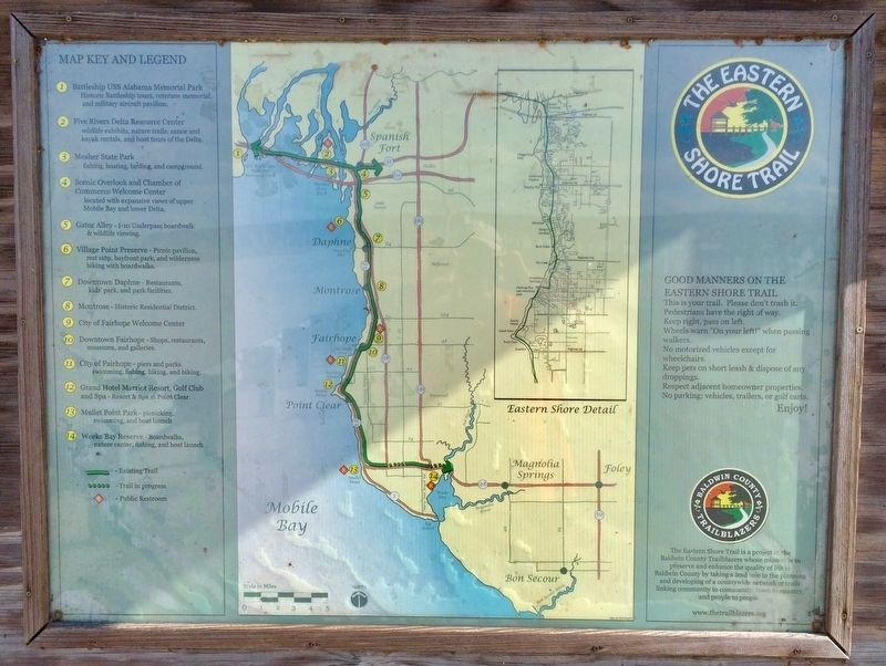 Eastern Shore Trail Map by the Baldwin County Trailblazers. image. Click for full size.