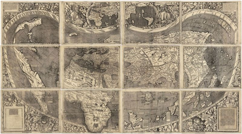<i>Universalis Cosmographia, </i>Waldseemüller's 1507 world map. image. Click for full size.