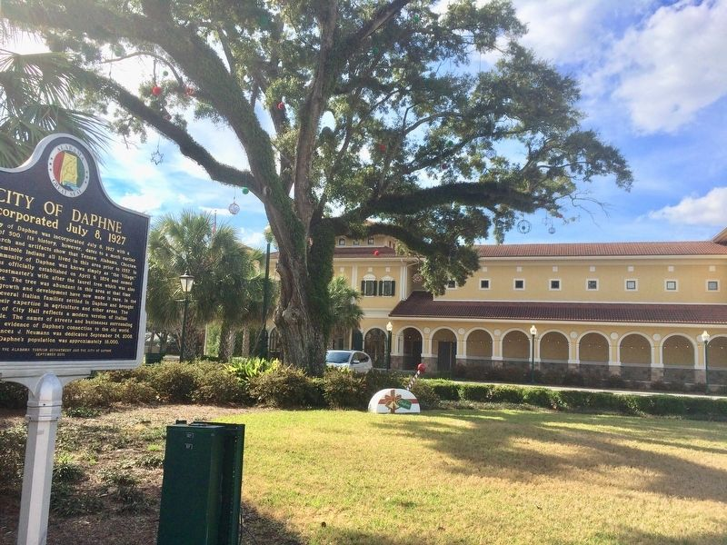 City of Daphne Marker with City Hall in background. image, Touch for more information