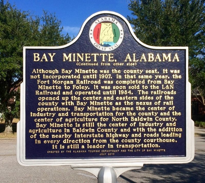 Bay Minette, Alabama Marker (side 2) image, Touch for more information