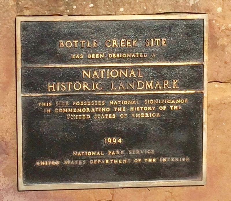 Bottle Creek Site plaque. image. Click for full size.