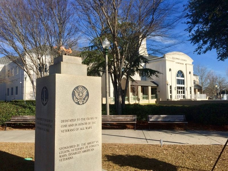 Memorial located on lawn of Baldwin County Courthouse. image, Touch for more information