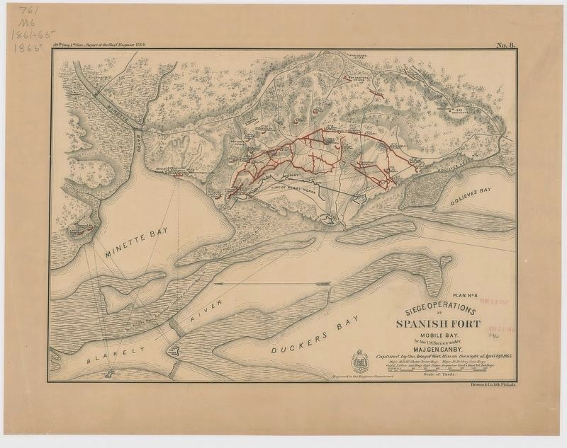 Siege Operations at Spanish Fort (General Canby's Plan No. 8) image. Click for full size.