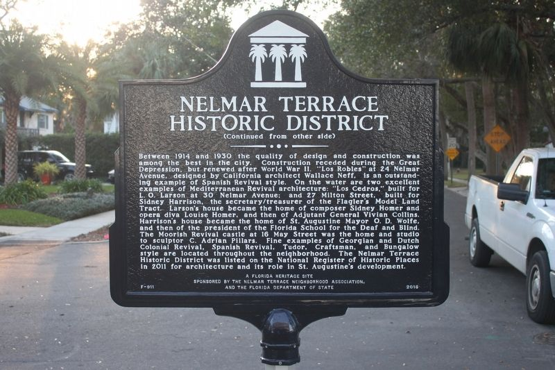 Nelmar Terrace Historic District Marker reverse image. Click for full size.