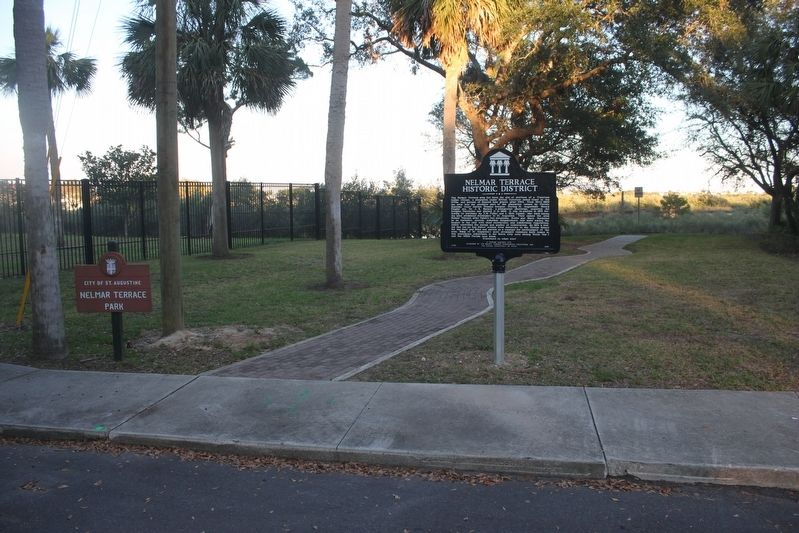 Nelmar Terrace Historic District Marker looking east into park. image. Click for full size.