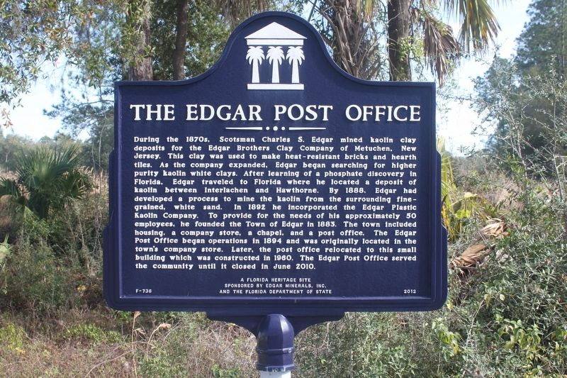 The Edgar Post Office Marker image. Click for full size.