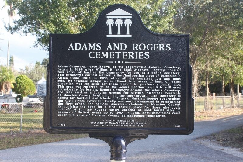 Adams and Rogers Cemeteries Marker image. Click for full size.