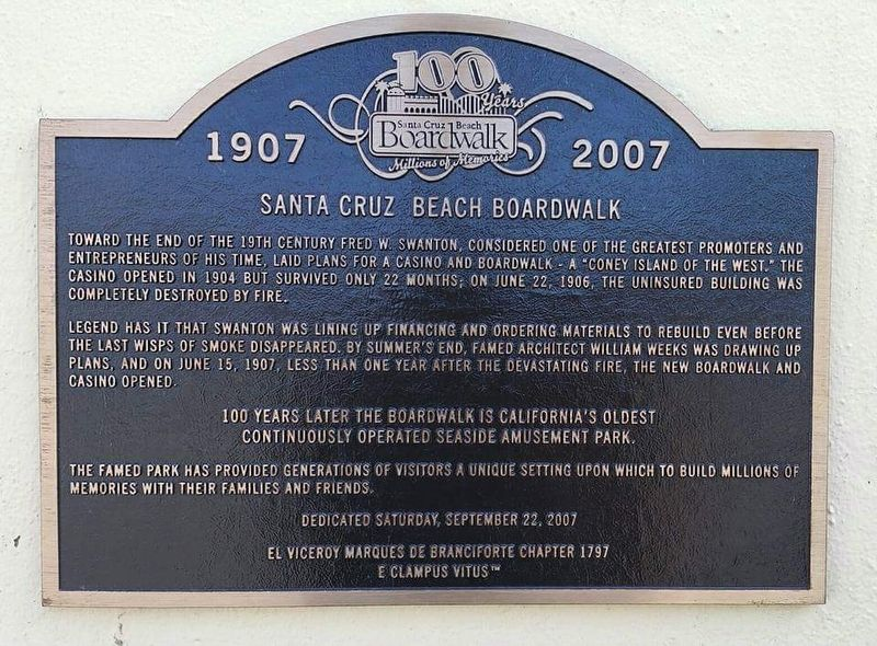 The Santa Cruz Beach Boardwalk Marker image. Click for full size.