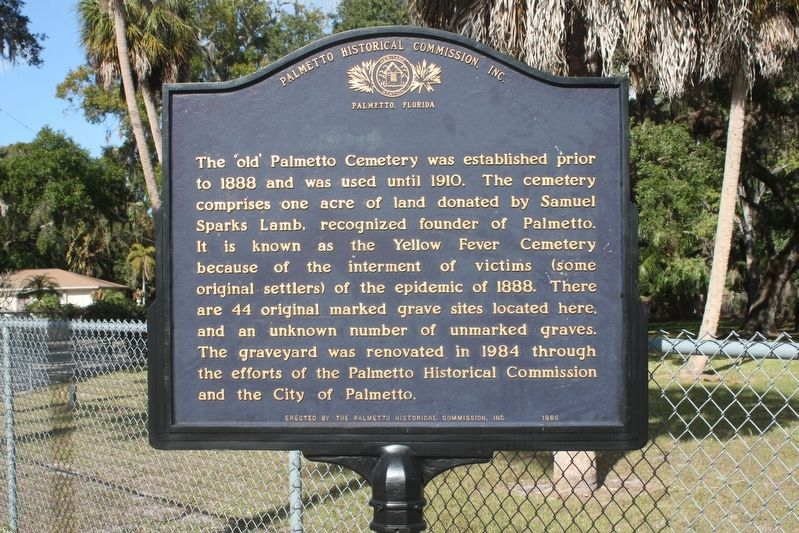 The 'Old' Palmetto Cemetery Marker image. Click for full size.